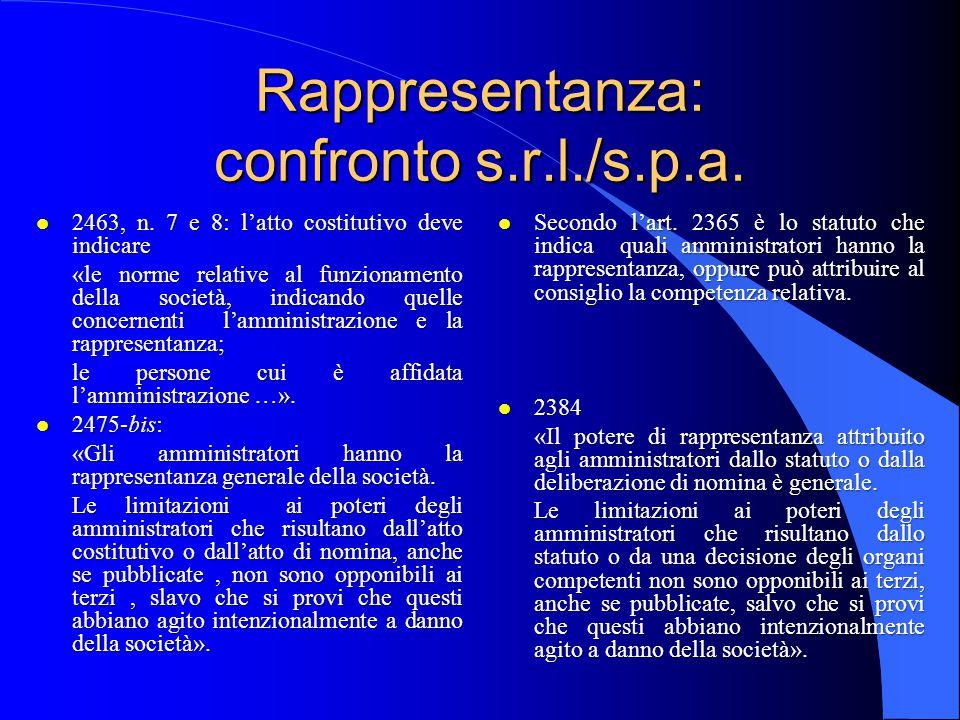 Rappresentanza l «Gli amministratori hanno la rappresentanza generale della società.