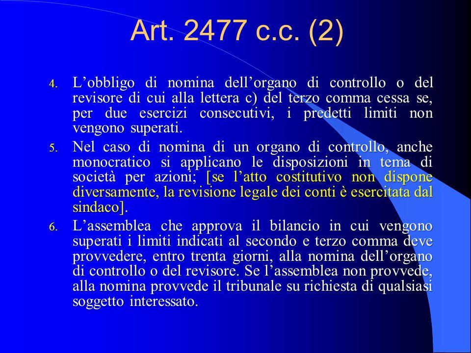 Art. 2477 c.c. (1) (Sindaco unico e revisione legale dei conti) 1.