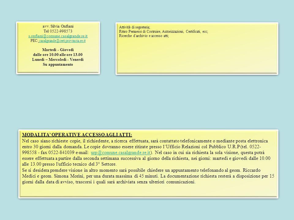 Attivit à di segreteria; Ritiro Permessi di Costruire, Autorizzazioni, Certificati, ecc; Ricerche d ' archivio e accesso atti; Attivit à di segreteria; Ritiro Permessi di Costruire, Autorizzazioni, Certificati, ecc; Ricerche d ' archivio e accesso atti; avv.