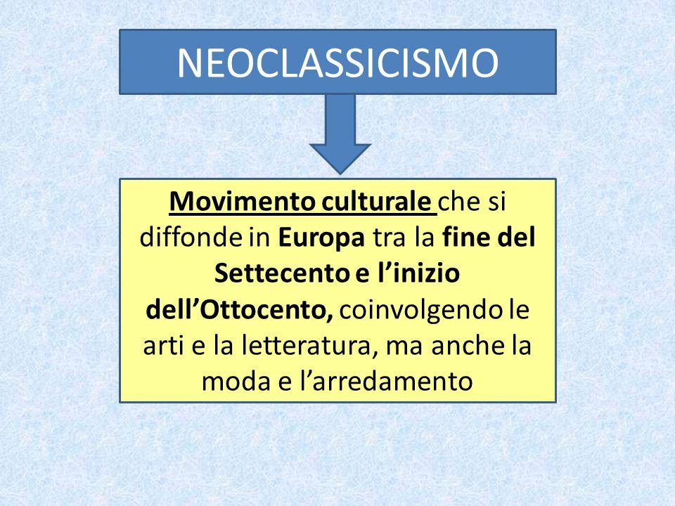 NEOCLASSICISMO STORIA ETA' NAPOLEONICA LETTERATURA FOSCOLO PITTURA DAVID ARCHITETTURA POLLOCK, PIERMARINI SCULTURA CANOVA ARTE MODA/ ARREDAMENTO STILE IMPERO