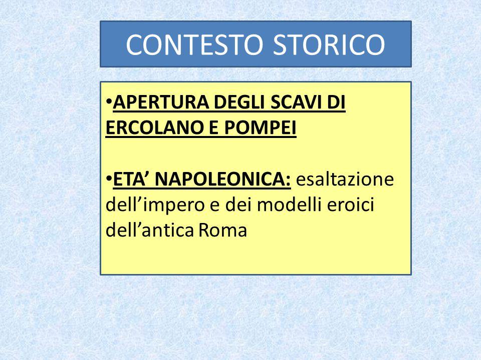 CONTESTO STORICO APERTURA DEGLI SCAVI DI ERCOLANO E POMPEI ETA' NAPOLEONICA: esaltazione dell'impero e dei modelli eroici dell'antica Roma