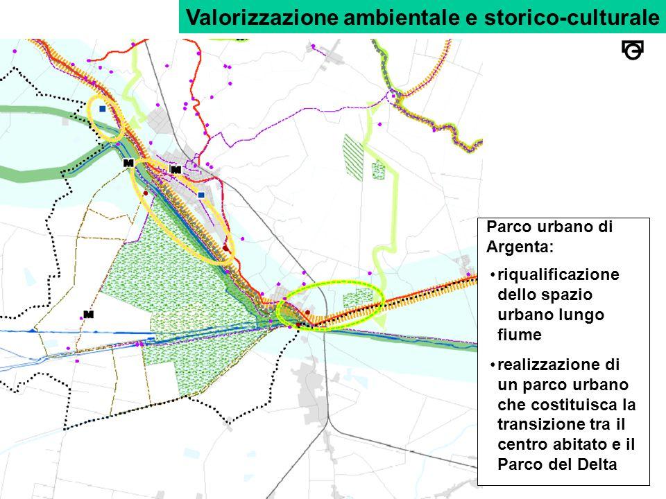 Valorizzazione ambientale e storico-culturale Parco urbano di Argenta: riqualificazione dello spazio urbano lungo fiume realizzazione di un parco urbano che costituisca la transizione tra il centro abitato e il Parco del Delta