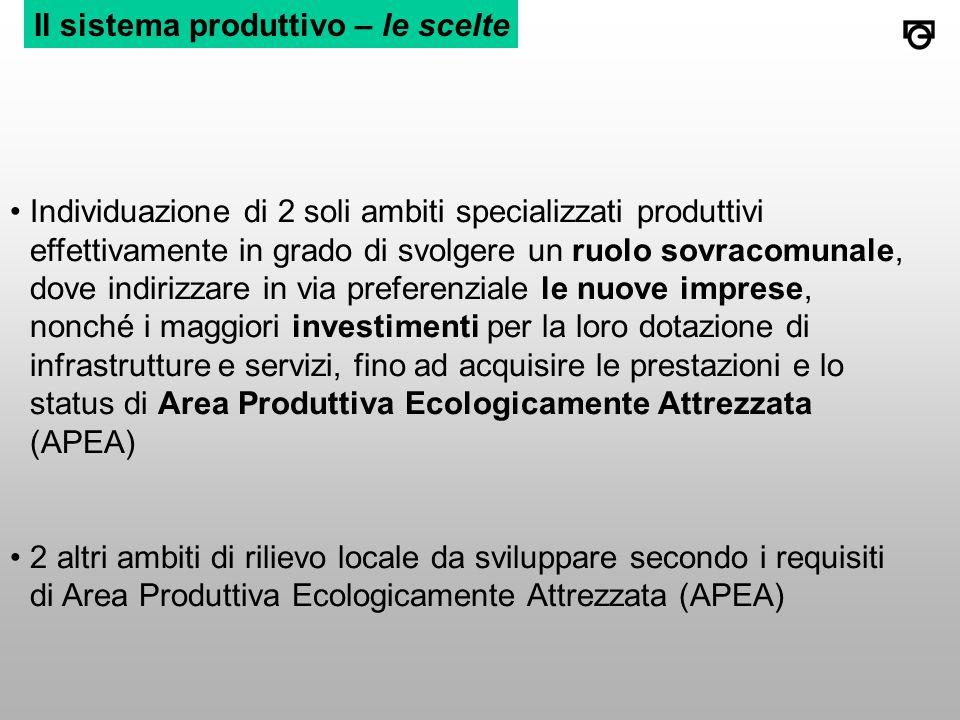 Il sistema produttivo – le scelte Individuazione di 2 soli ambiti specializzati produttivi effettivamente in grado di svolgere un ruolo sovracomunale, dove indirizzare in via preferenziale le nuove imprese, nonché i maggiori investimenti per la loro dotazione di infrastrutture e servizi, fino ad acquisire le prestazioni e lo status di Area Produttiva Ecologicamente Attrezzata (APEA) 2 altri ambiti di rilievo locale da sviluppare secondo i requisiti di Area Produttiva Ecologicamente Attrezzata (APEA)