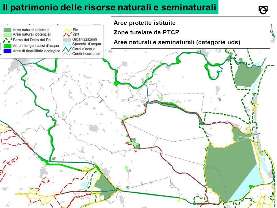 Il patrimonio delle risorse naturali e seminaturali Aree protette istituite Zone tutelate da PTCP Aree naturali e seminaturali (categorie uds)