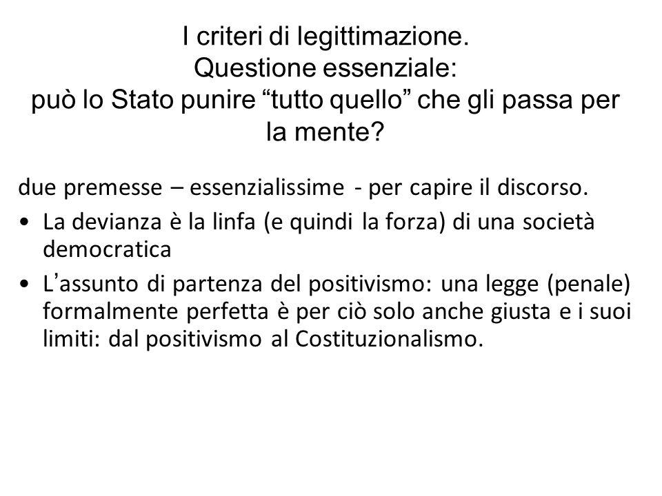 La faticosa ricerca dei limiti al contenuto del punire: - Limiti frontali: I diritti costituzionali come divieti di incriminazione (es.