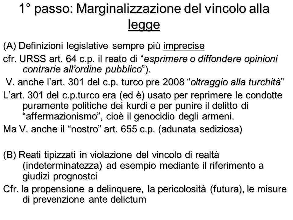 1° passo: Marginalizzazione del vincolo alla legge (A) Definizioni legislative sempre più imprecise cfr.