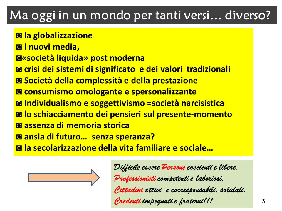 ◙ la globalizzazione ◙ i nuovi media, ◙ «società liquida» post moderna ◙ crisi dei sistemi di significato e dei valori tradizionali ◙ Società della co
