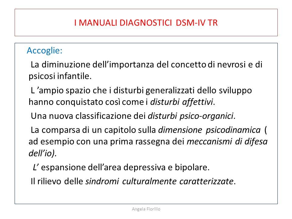 I MANUALI DIAGNOSTICI DSM-IV TR Accoglie: La diminuzione dell'importanza del concetto di nevrosi e di psicosi infantile. L 'ampio spazio che i disturb