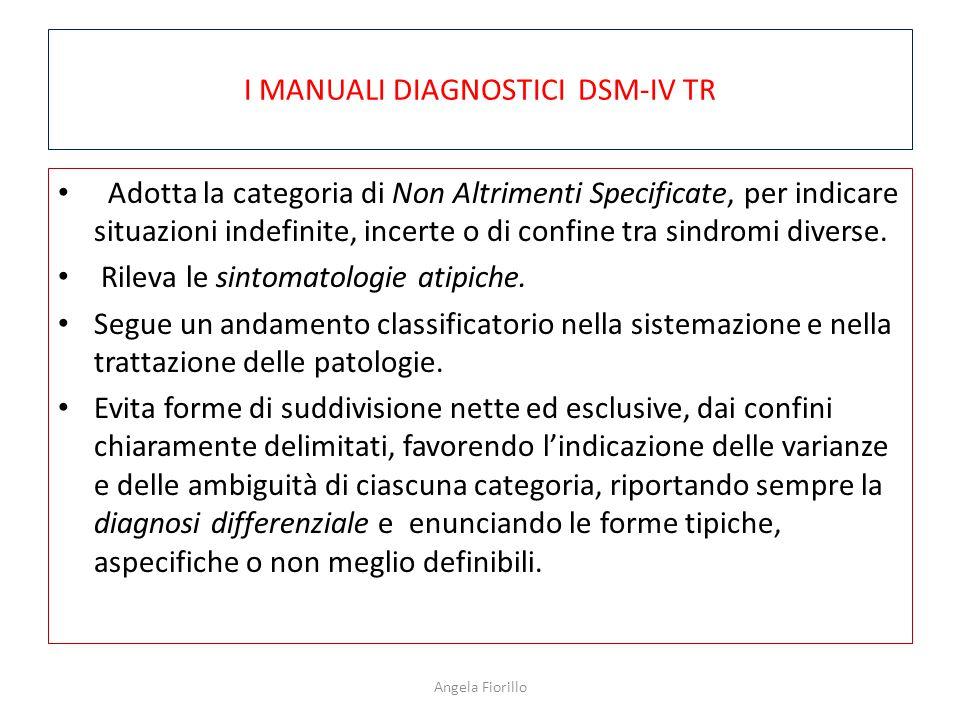 I MANUALI DIAGNOSTICI DSM-IV TR Adotta la categoria di Non Altrimenti Specificate, per indicare situazioni indefinite, incerte o di confine tra sindromi diverse.