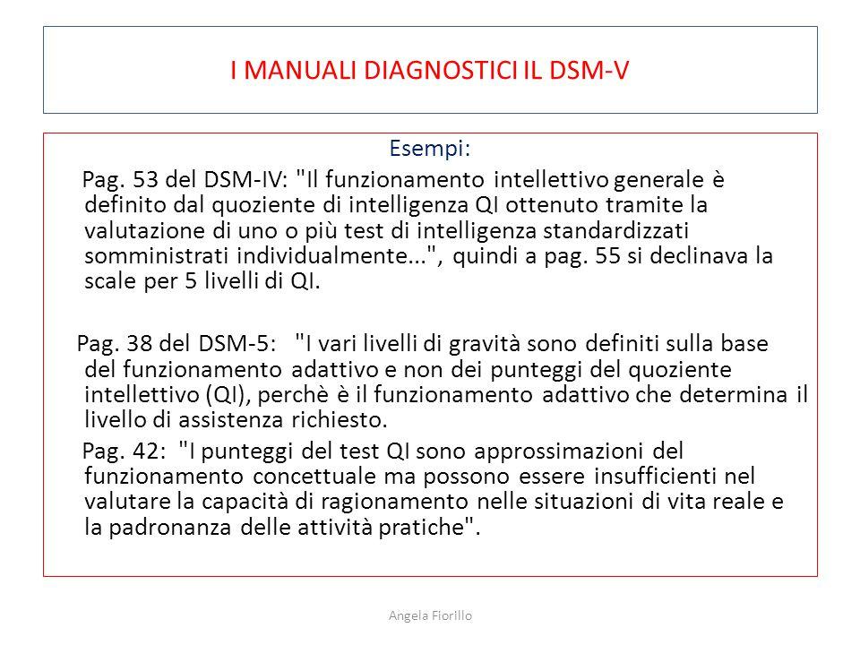 I MANUALI DIAGNOSTICI IL DSM-V Esempi: Pag. 53 del DSM-IV: