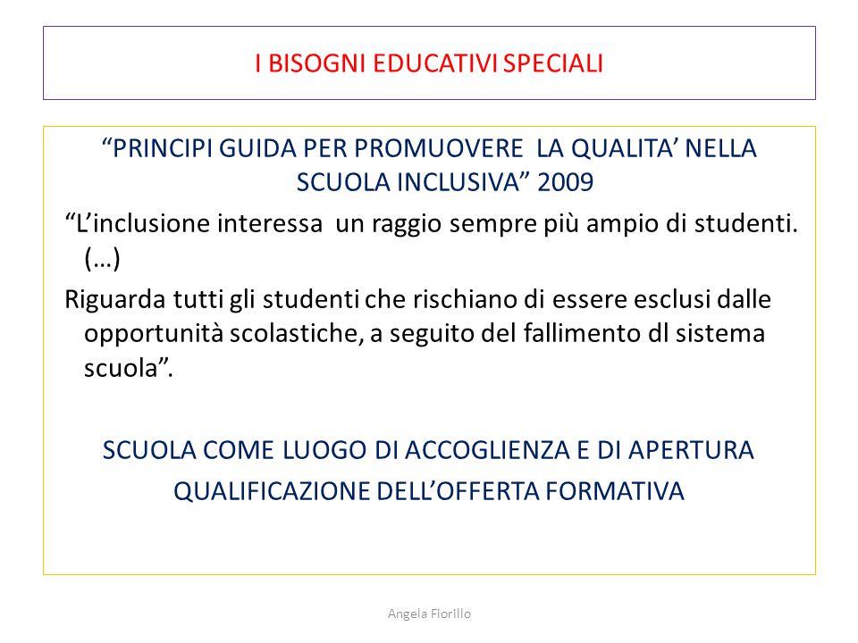 """I BISOGNI EDUCATIVI SPECIALI """"PRINCIPI GUIDA PER PROMUOVERE LA QUALITA' NELLA SCUOLA INCLUSIVA"""" 2009 """"L'inclusione interessa un raggio sempre più ampi"""