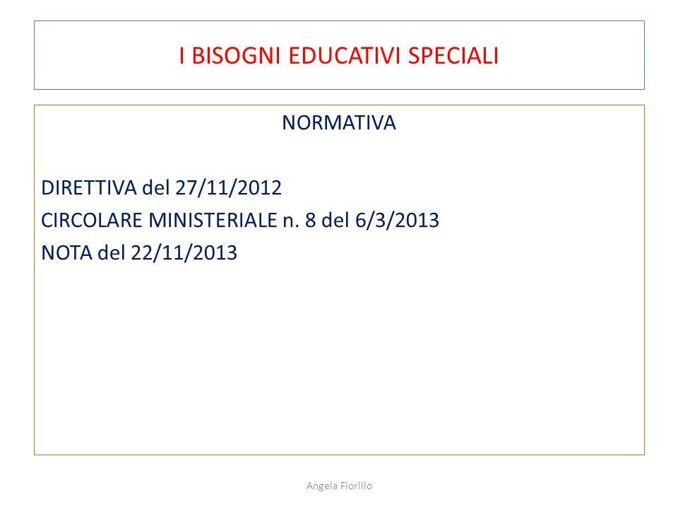 I BISOGNI EDUCATIVI SPECIALI NORMATIVA DIRETTIVA del 27/11/2012 CIRCOLARE MINISTERIALE n. 8 del 6/3/2013 NOTA del 22/11/2013 Angela Fiorillo