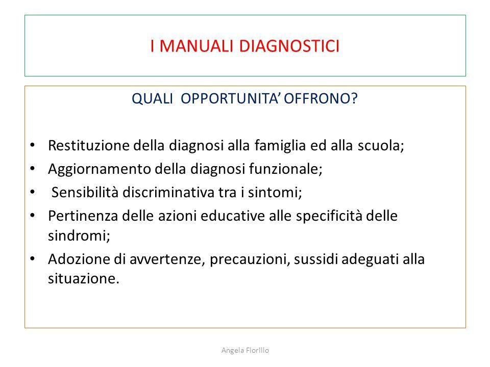 I MANUALI DIAGNOSTICI QUALI OPPORTUNITA' OFFRONO? Restituzione della diagnosi alla famiglia ed alla scuola; Aggiornamento della diagnosi funzionale; S