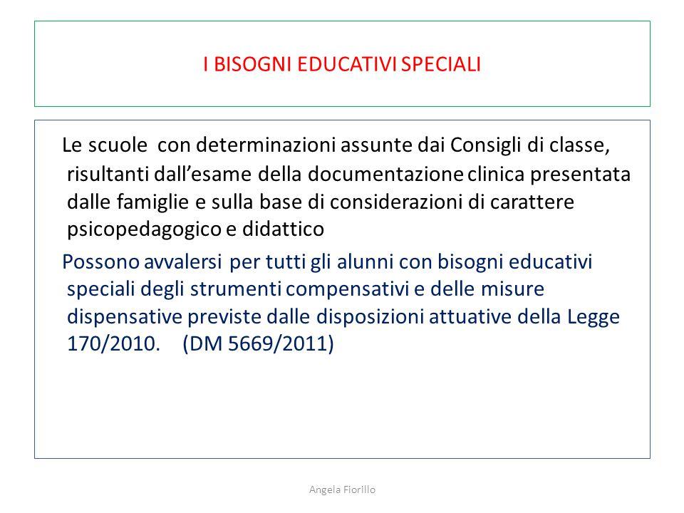 I BISOGNI EDUCATIVI SPECIALI Le scuole con determinazioni assunte dai Consigli di classe, risultanti dall'esame della documentazione clinica presentat