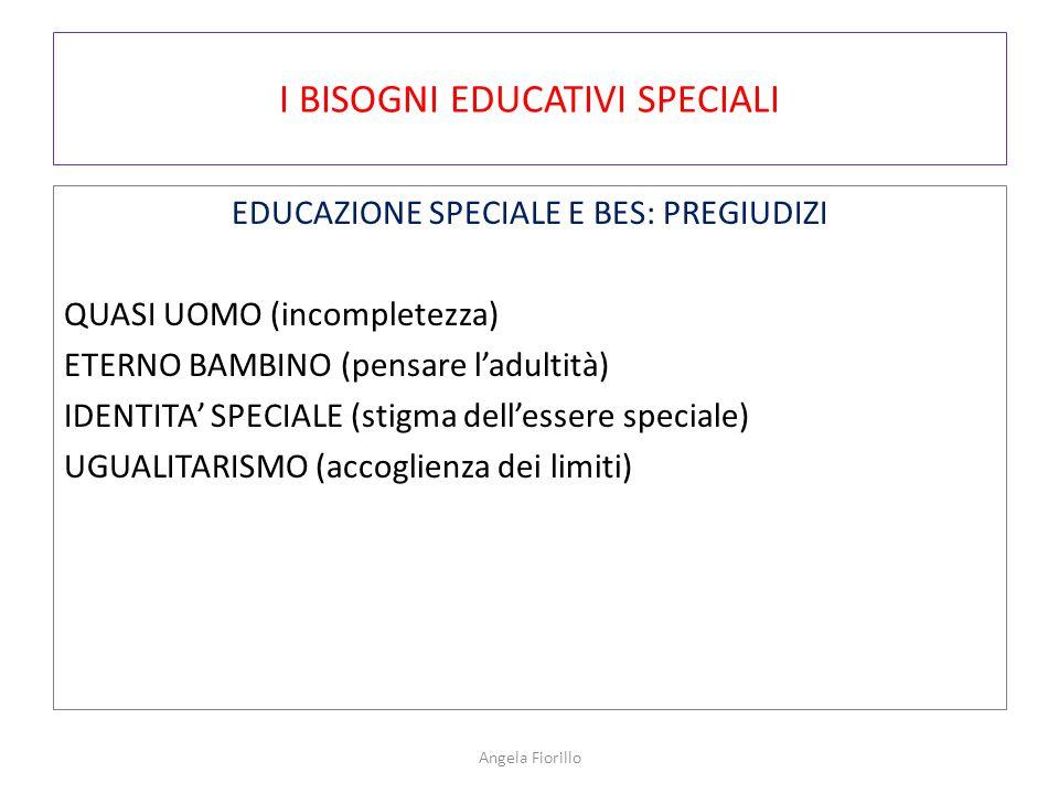 I BISOGNI EDUCATIVI SPECIALI EDUCAZIONE SPECIALE E BES: PREGIUDIZI QUASI UOMO (incompletezza) ETERNO BAMBINO (pensare l'adultità) IDENTITA' SPECIALE (stigma dell'essere speciale) UGUALITARISMO (accoglienza dei limiti) Angela Fiorillo