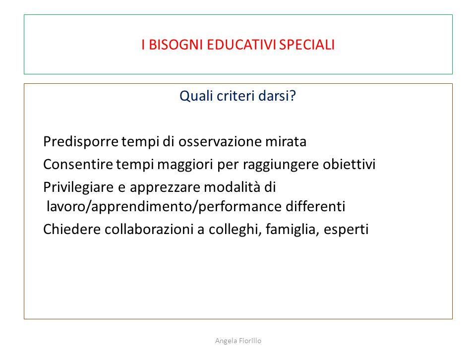 I BISOGNI EDUCATIVI SPECIALI Quali criteri darsi? Predisporre tempi di osservazione mirata Consentire tempi maggiori per raggiungere obiettivi Privile