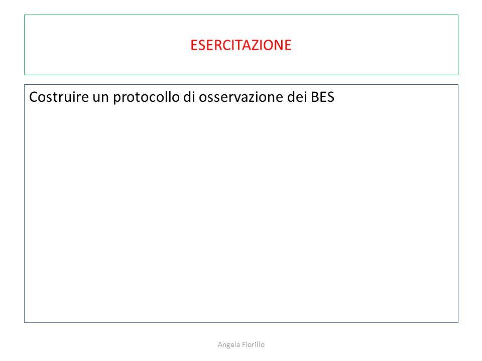 ESERCITAZIONE Costruire un protocollo di osservazione dei BES Angela Fiorillo