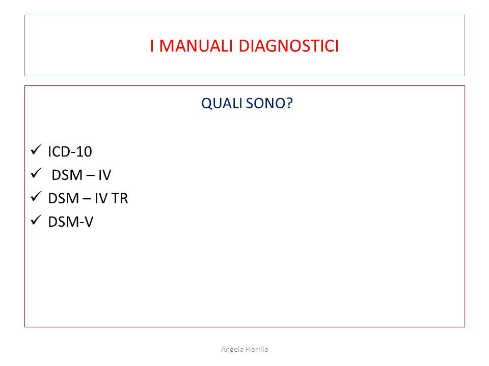 I MANUALI DIAGNOSTICI QUALI SONO? ICD-10 DSM – IV DSM – IV TR DSM-V Angela Fiorillo