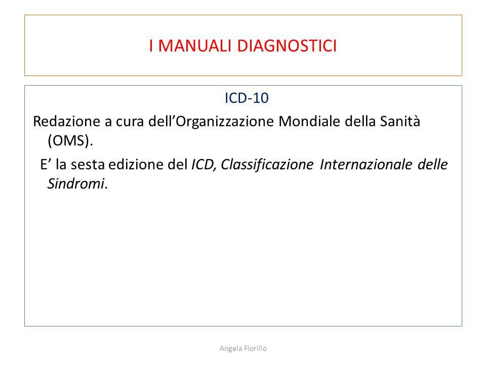 I MANUALI DIAGNOSTICI ICD-10 Redazione a cura dell'Organizzazione Mondiale della Sanità (OMS). E' la sesta edizione del ICD, Classificazione Internazi