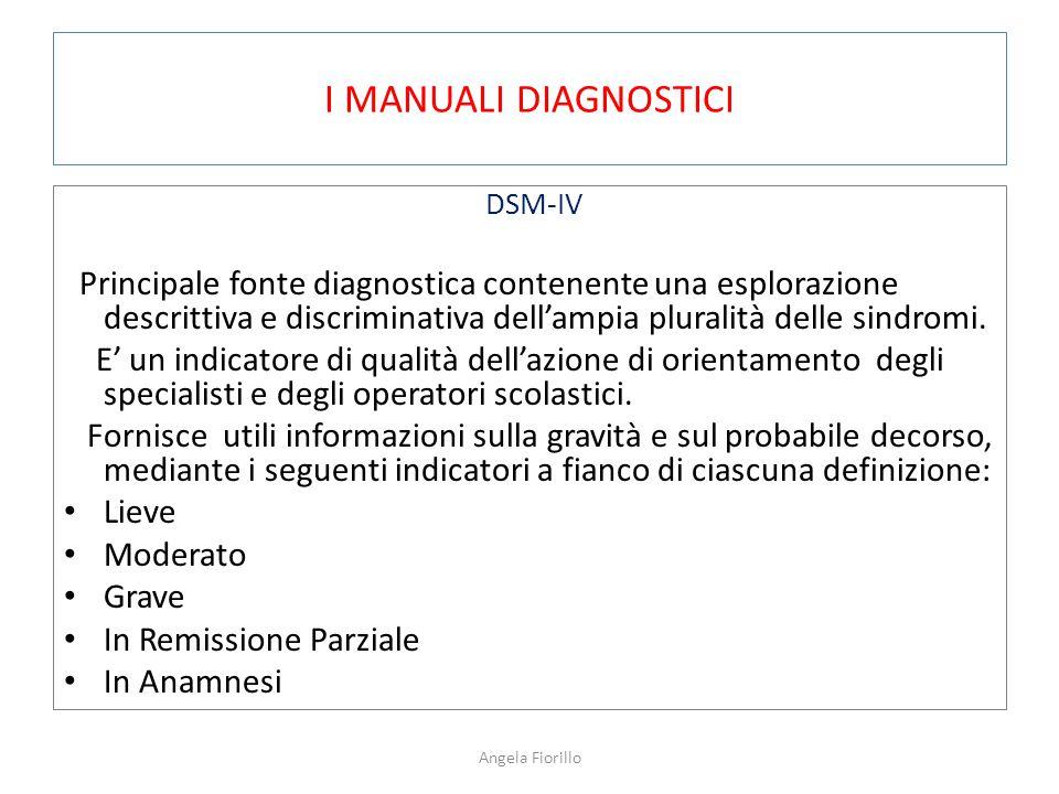 I MANUALI DIAGNOSTICI DSM-IV Principale fonte diagnostica contenente una esplorazione descrittiva e discriminativa dell'ampia pluralità delle sindromi.