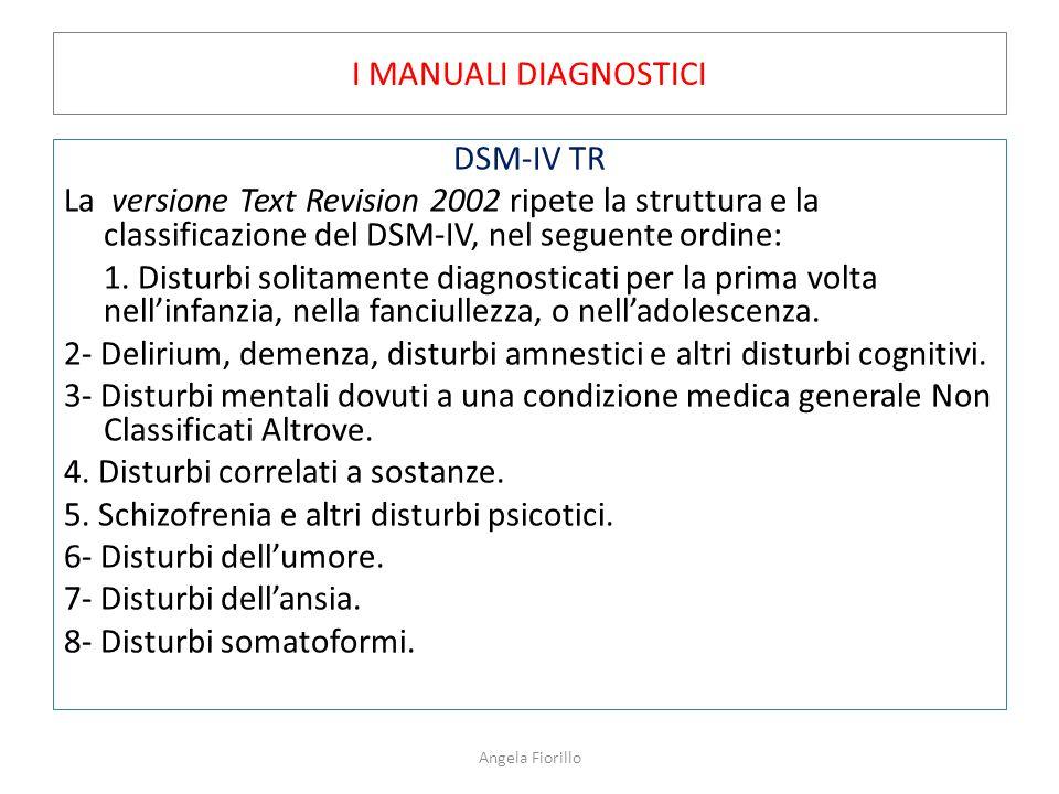 I MANUALI DIAGNOSTICI DSM-IV TR La versione Text Revision 2002 ripete la struttura e la classificazione del DSM-IV, nel seguente ordine: 1. Disturbi s
