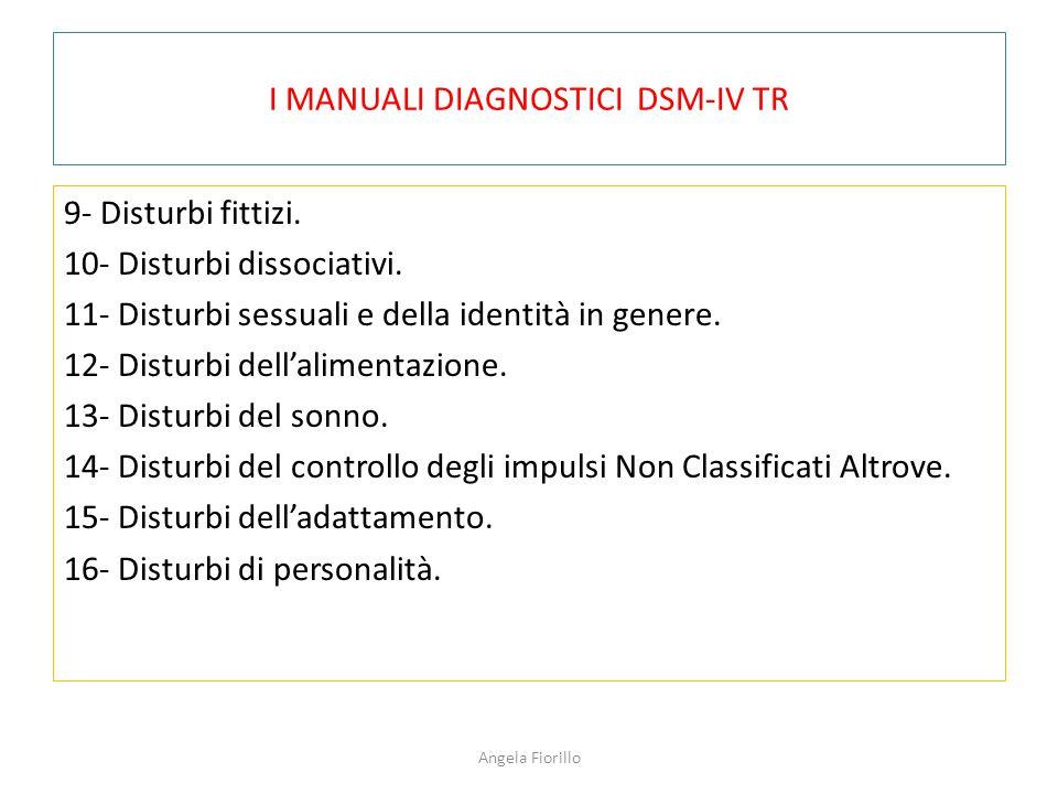 I MANUALI DIAGNOSTICI DSM-IV TR 9- Disturbi fittizi. 10- Disturbi dissociativi. 11- Disturbi sessuali e della identità in genere. 12- Disturbi dell'al