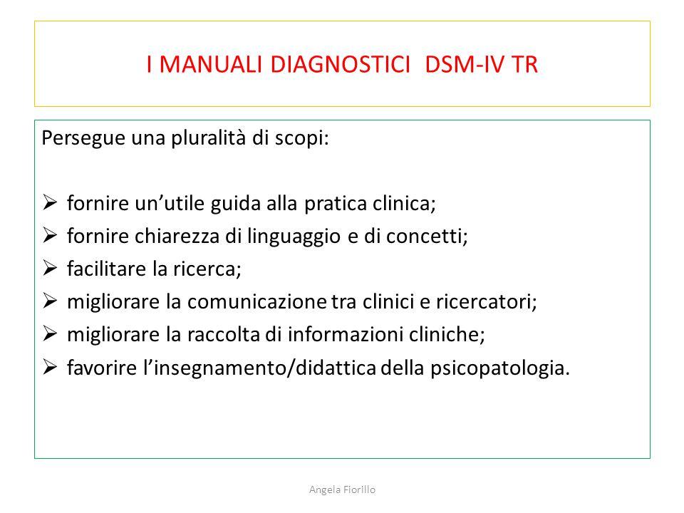 I MANUALI DIAGNOSTICI DSM-IV TR Persegue una pluralità di scopi:  fornire un'utile guida alla pratica clinica;  fornire chiarezza di linguaggio e di