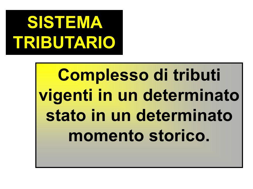 SISTEMA TRIBUTARIO Complesso di tributi vigenti in un determinato stato in un determinato momento storico.