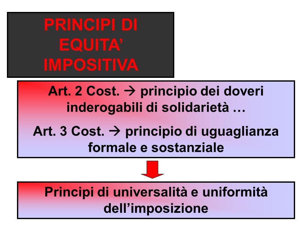 PRINCIPI DI EQUITA' IMPOSITIVA Art.2 Cost.