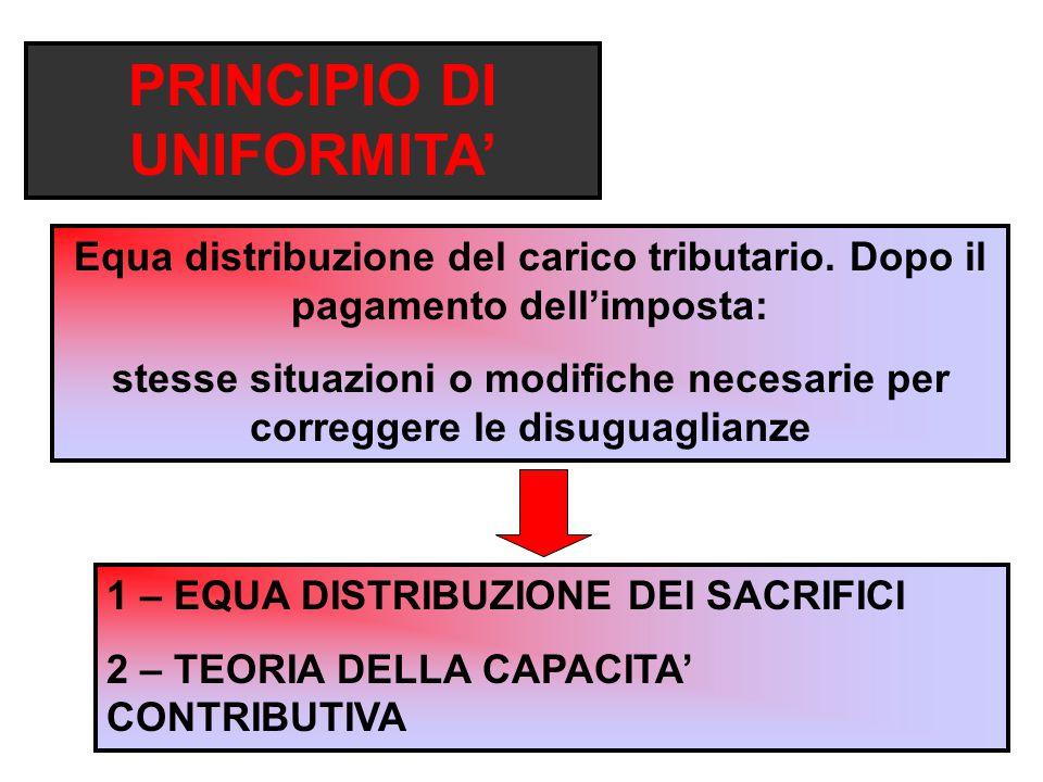 PRINCIPIO DI UNIFORMITA' Equa distribuzione del carico tributario.