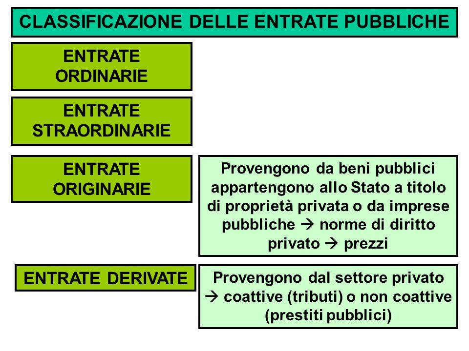 CLASSIFICAZIONE DELLE ENTRATE PUBBLICHE ENTRATE ORDINARIE ENTRATE ORIGINARIE ENTRATE DERIVATE ENTRATE STRAORDINARIE Provengono da beni pubblici appartengono allo Stato a titolo di proprietà privata o da imprese pubbliche  norme di diritto privato  prezzi Provengono dal settore privato  coattive (tributi) o non coattive (prestiti pubblici)