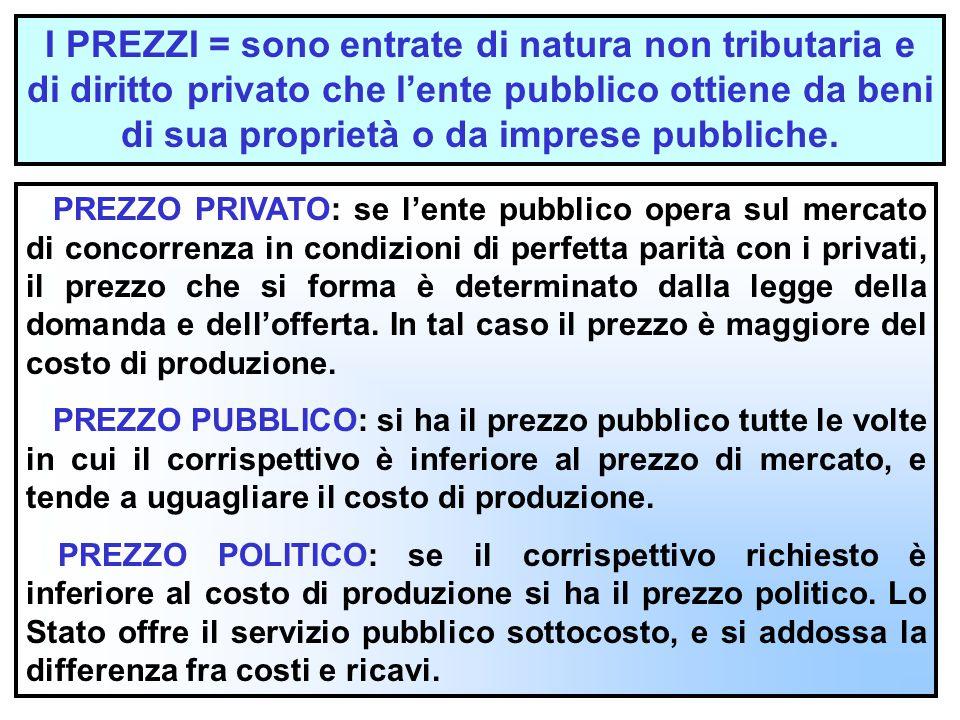 I PREZZI = sono entrate di natura non tributaria e di diritto privato che l'ente pubblico ottiene da beni di sua proprietà o da imprese pubbliche.