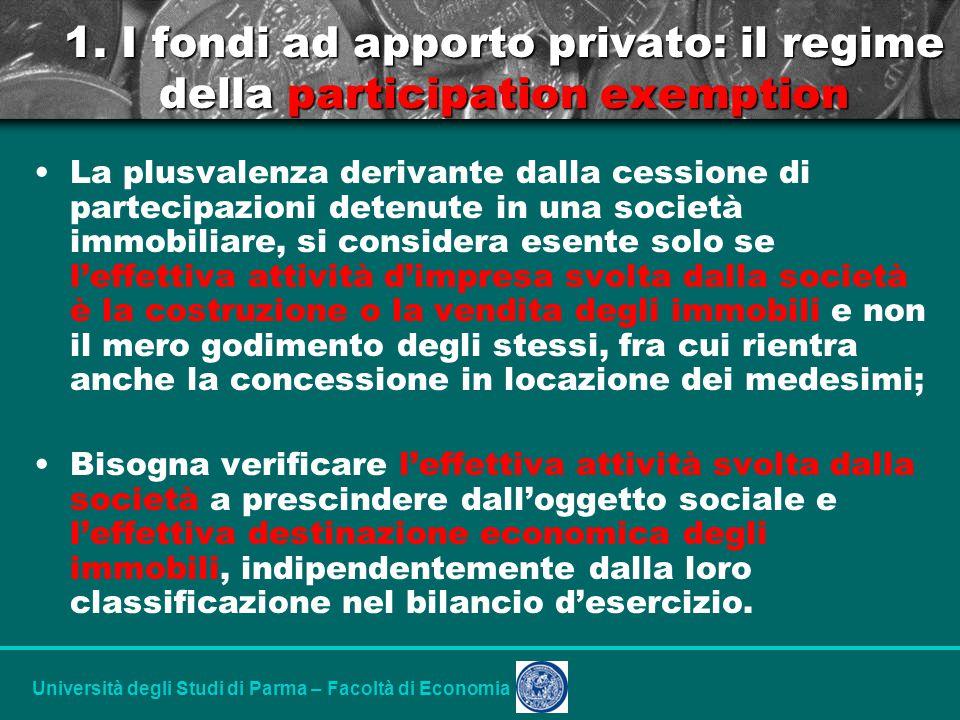 Università degli Studi di Parma – Facoltà di Economia 1.