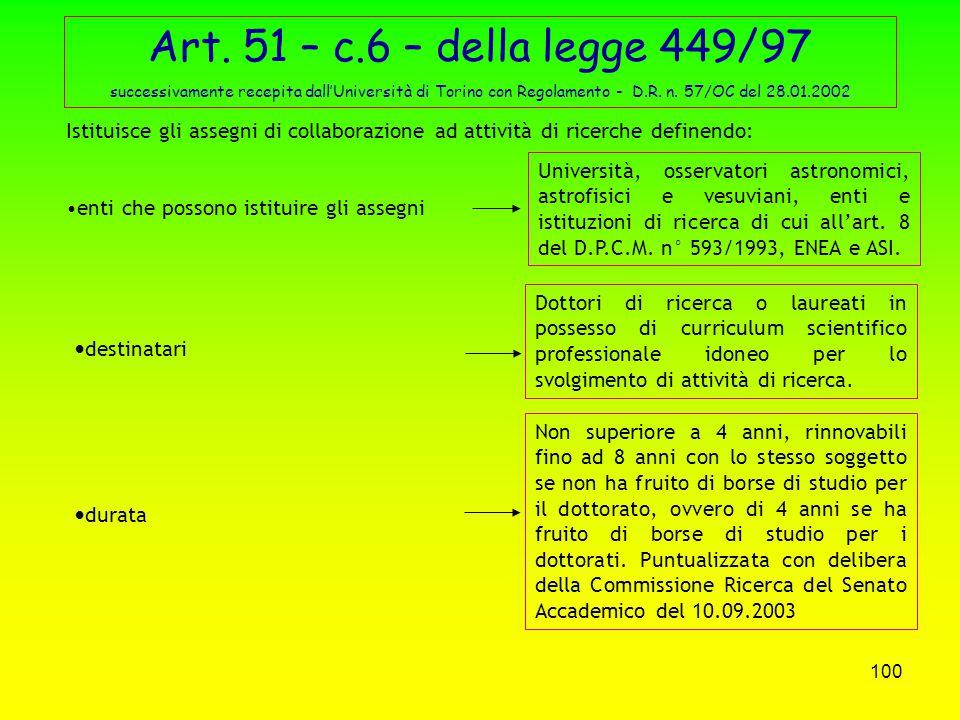99 ASSEGNI DI RICERCA L'art. 51 – c. 6 – della legge n° 449 del 27/12/1997 istituisce gli assegni per la collaborazione ad attività di ricerca. Il D.M