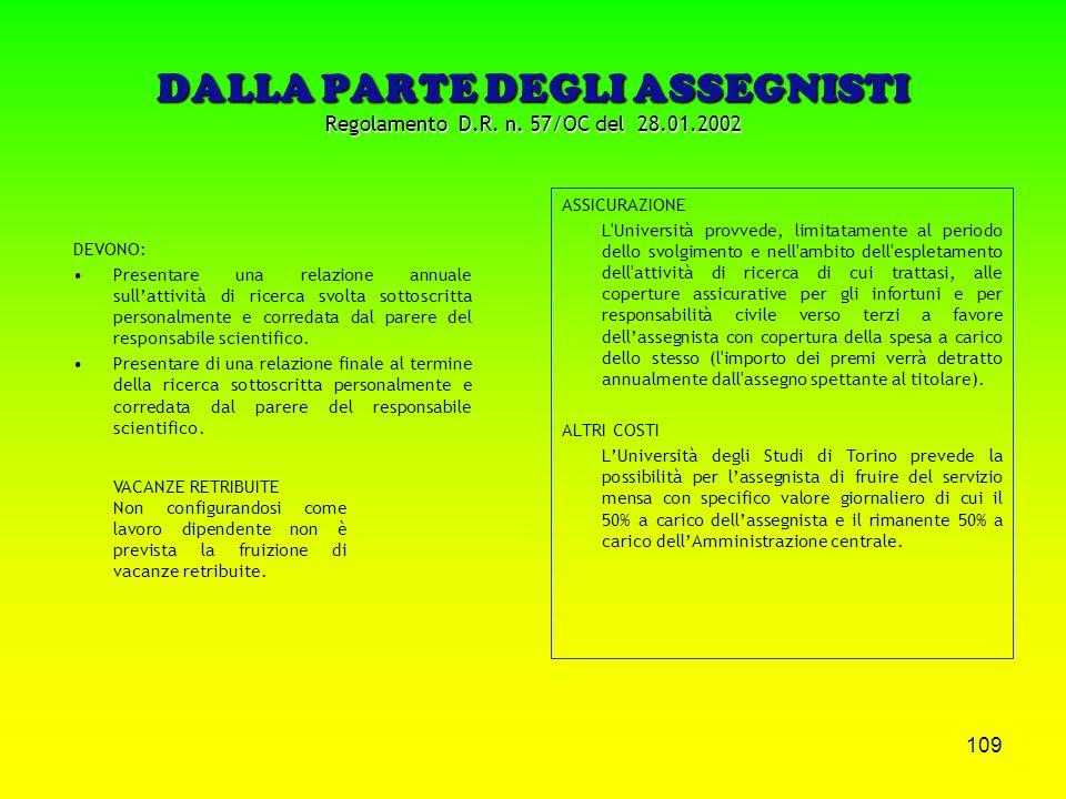 108 DALLA PARTE DEGLI ASSEGNISTI Regolamento D.R. n. 57/OC del 28.01.2002 POSSIBILITA' DI: essere ammessi a frequentare corsi di dottorato di ricerca