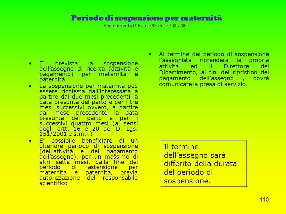 109 DALLA PARTE DEGLI ASSEGNISTI Regolamento D.R. n. 57/OC del 28.01.2002 DEVONO: Presentare una relazione annuale sull'attività di ricerca svolta sot