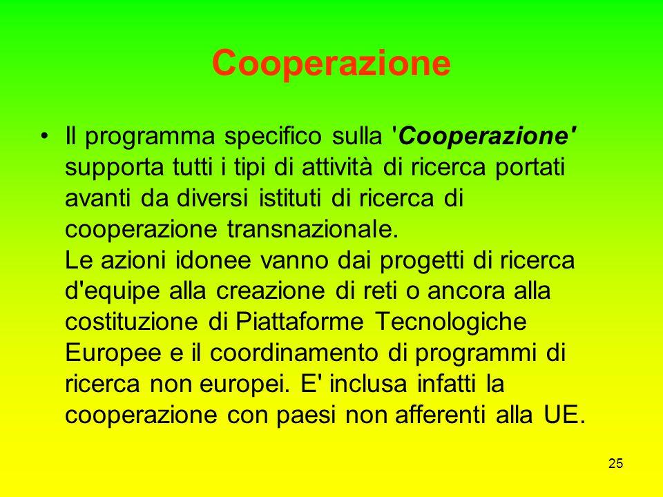 24 Obiettivi del 7 PQ I 6 obiettivi del VII Programma Quadro sono stati raggruppati in quattro categorie: Cooperazione, Idee, Persone e Capacità/Rendi