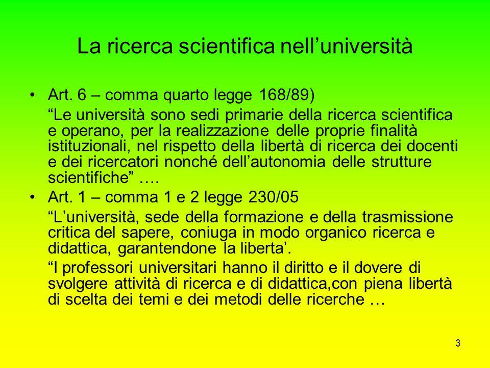 3 La ricerca scientifica nell'università Art.
