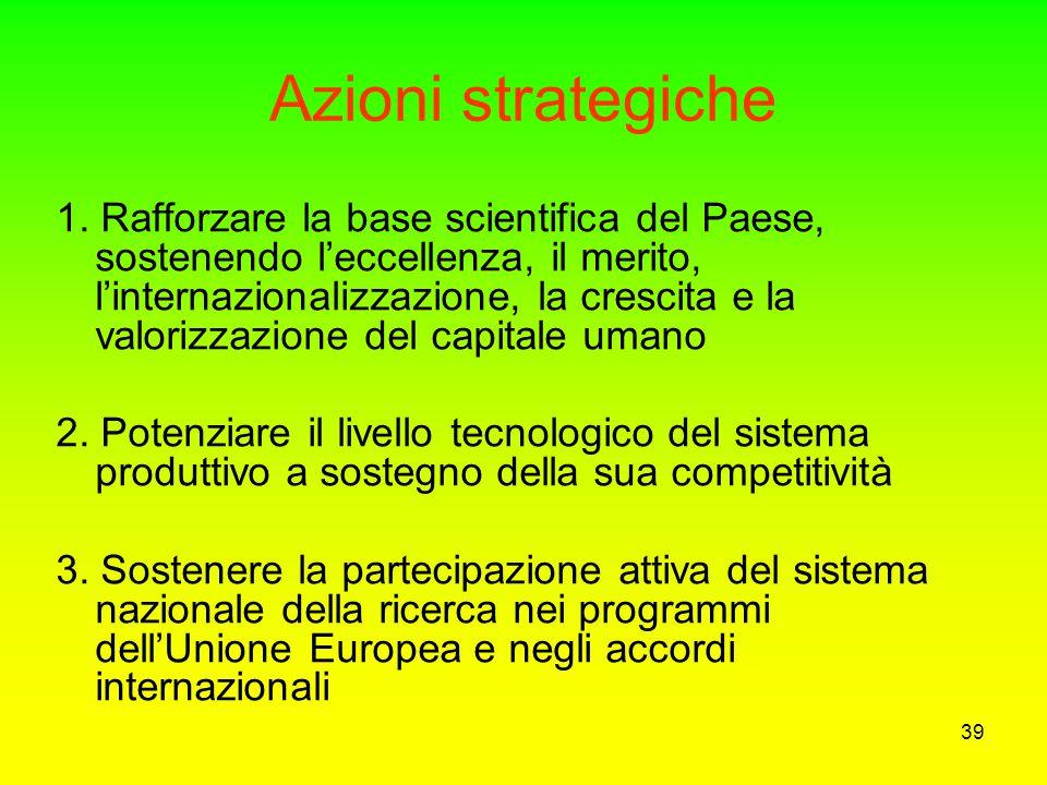 38 Obbiettivi strategici del PNR La ricerca per migliorare la qualità della vita (salute, sicurezza, ambiente) La ricerca per accrescere la competitiv