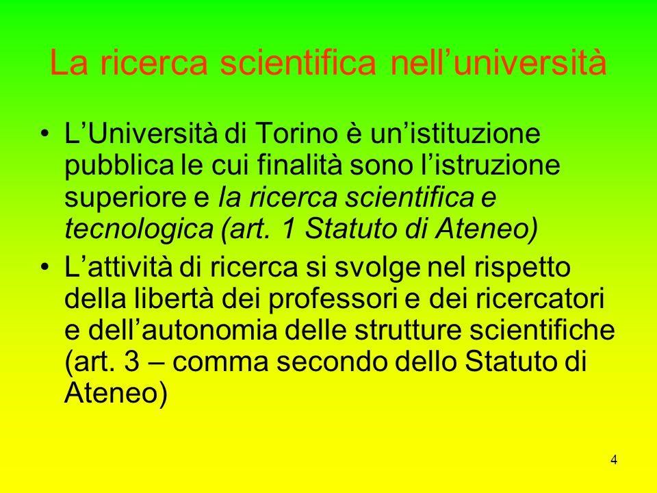 4 La ricerca scientifica nell'università L'Università di Torino è un'istituzione pubblica le cui finalità sono l'istruzione superiore e la ricerca scientifica e tecnologica (art.