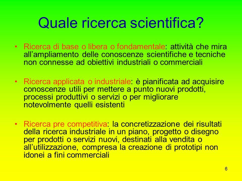 36 Le tre reti del sistema scientifico italiano Altre istituzioni pubbliche 450 milioni di euro (3,1%) Istituzioni private non profit 186 milioni di euro (1,3%) Ricerca industriale 48,3% delle spese per R&S ca.