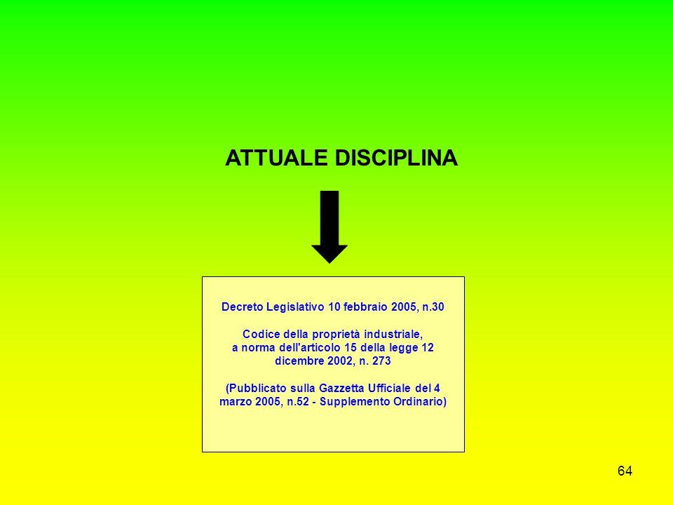 63 VECCHIA DISCIPLINA Artt. 23 e 24 legge invenzioni (R.D. n. 1127/1939) Art. 34 Statuto degli impiegati civili dello Stato (D.P.R. n. 3/1957) (trasla