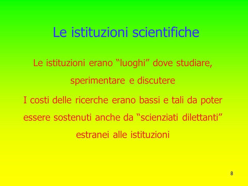"""7 Le origini delle istituzioni scientifiche In Europa, a partire dal 16mo secolo, e' iniziata la """"istituzionalizzazione"""" della ricerca scientifica, co"""