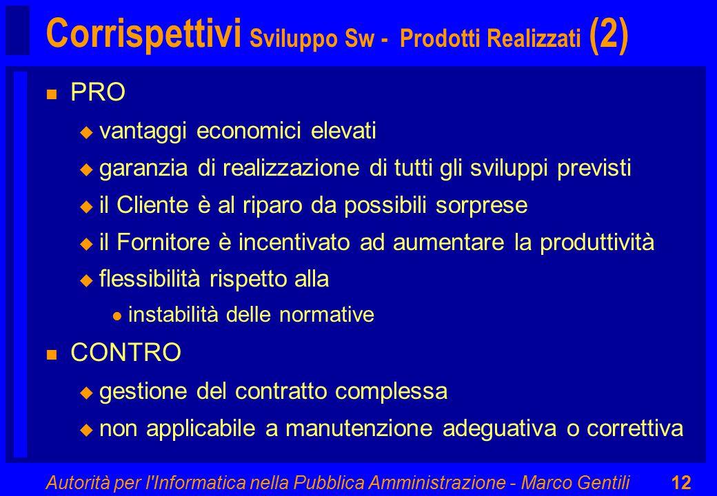 Autorità per l'Informatica nella Pubblica Amministrazione - Marco Gentili12 Corrispettivi Sviluppo Sw - Prodotti Realizzati (2) n PRO u vantaggi econo