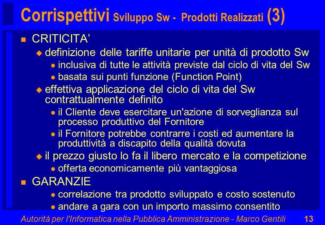 Autorità per l'Informatica nella Pubblica Amministrazione - Marco Gentili13 Corrispettivi Sviluppo Sw - Prodotti Realizzati (3) n CRITICITA' u definiz