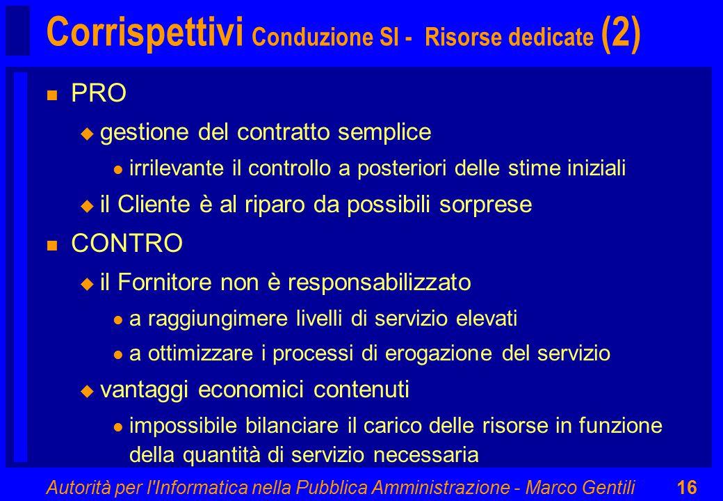 Autorità per l'Informatica nella Pubblica Amministrazione - Marco Gentili16 Corrispettivi Conduzione SI - Risorse dedicate (2) n PRO u gestione del co