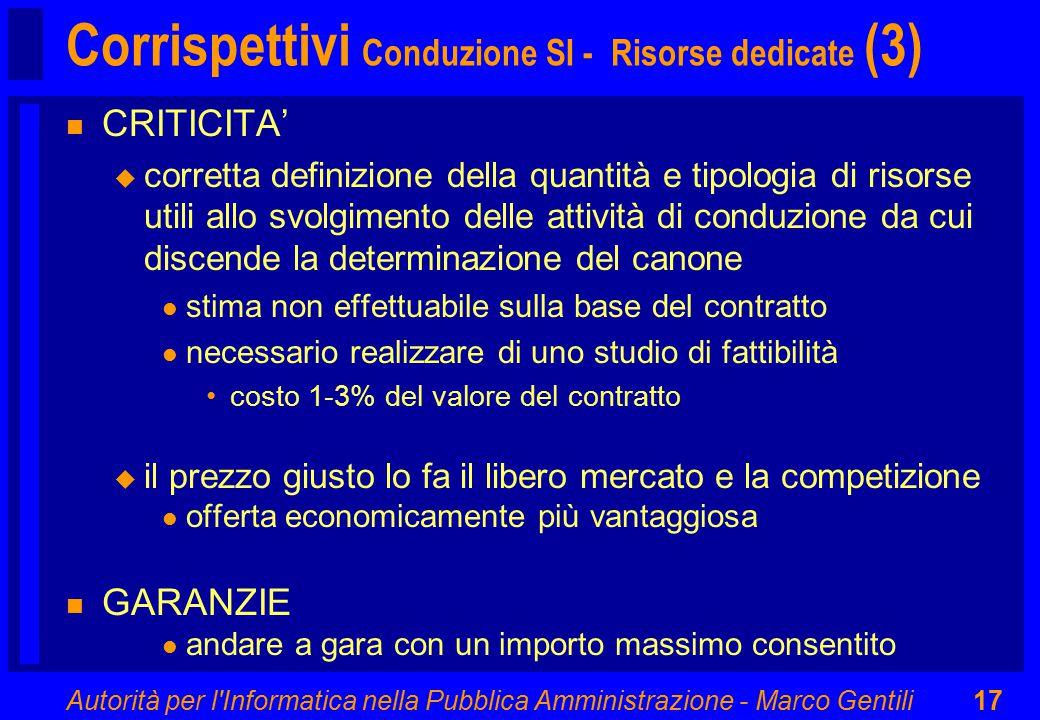 Autorità per l'Informatica nella Pubblica Amministrazione - Marco Gentili17 Corrispettivi Conduzione SI - Risorse dedicate (3) n CRITICITA' u corretta