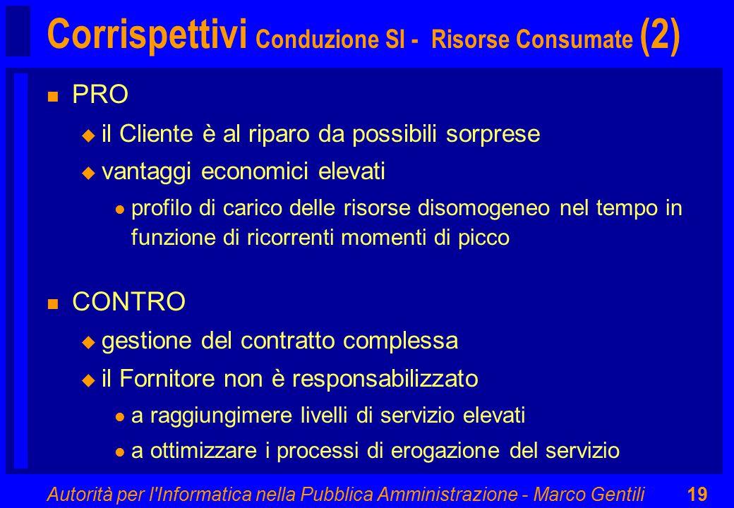 Autorità per l'Informatica nella Pubblica Amministrazione - Marco Gentili19 Corrispettivi Conduzione SI - Risorse Consumate (2) n PRO u il Cliente è a