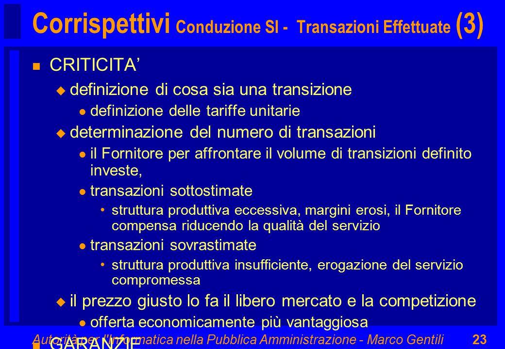 Autorità per l'Informatica nella Pubblica Amministrazione - Marco Gentili23 Corrispettivi Conduzione SI - Transazioni Effettuate (3) n CRITICITA' u de