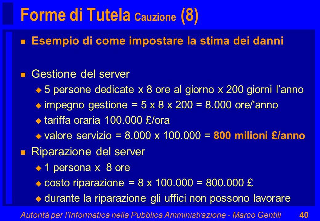 Autorità per l'Informatica nella Pubblica Amministrazione - Marco Gentili40 Forme di Tutela Cauzione (8) n Esempio di come impostare la stima dei dann